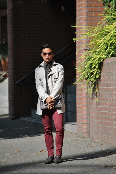 brick red skinny jeans Topman jeans - eggshell trench coat Nordstrom coat