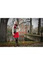 Human-nature-boots-ruby-red-lace-secondhand-h-m-dress