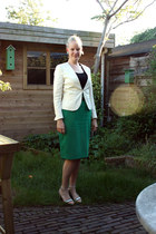 green pencil thrifted shirt - off white H&M blazer - black cotton thrifted top