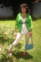 blouse - sweater - purse - jeans - belt - shoes