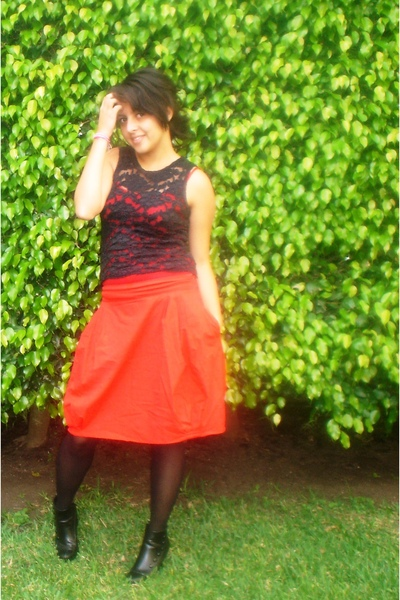 black lace blouse - black boots - black tights - red skirt - red top