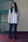 Black-unknown-boots-bubble-gum-vintage-jacket-off-white-faded-glory-sweater