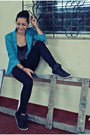 Teal-shasa-blazer-charcoal-gray-bershka-top-black-charlotte-russe-pants