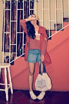 brick red Zara sweater - brick red Forever 21 jacket