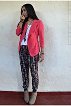 hot pink Mute blazer - white Gap shirt - black harem Bershka pants