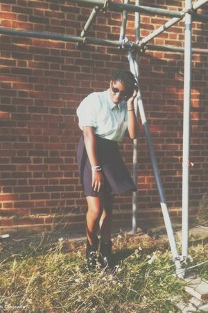 green ben sherman shirt - blue Vintage costume skirt - black doc martens boots -