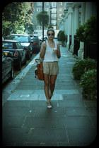 light pink H&M shorts - brown Michael Kors bag - white acne top