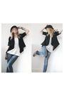 Blue-bershka-jeans-white-h-m-vest-black-primark-blazer-beige
