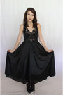 Black-sam-edelman-boots-black-sheer-lace-maxi-gypsy-gamine-vintage-dress