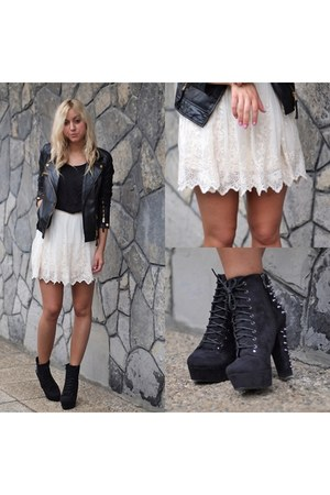 white lace Stradivarius skirt - black leather jacket Zara jacket
