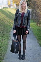 black Topshop skirt - ruby red New Yorker sweater