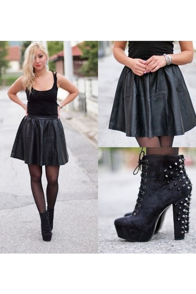 black leather H&M skirt - black Stradivarius top