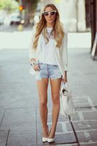 white white Zara bag - cream fitted HAUTE & REBELLIOUS blazer