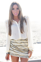 beige skirt - white top