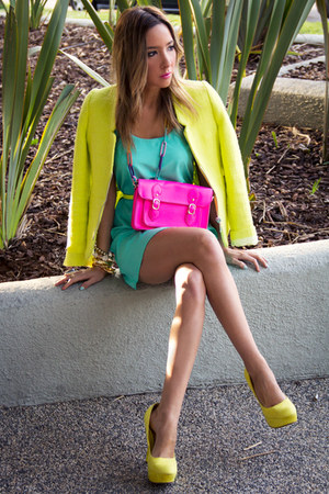 yellow Zara jacket - aquamarine HAUTE & REBELLIOUS dress