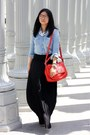 Sky-blue-shirt-red-bag-white-accessories-black-skirt