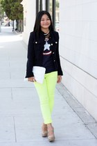 light yellow pants - navy blazer - navy shirt - beige heels