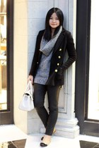 black cardigan - silver sweater - gray pants - camel flats