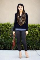 purple sweater - burnt orange scarf - gray pants - tawny belt