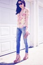 Light-yellow-ralph-lauren-blouse-light-blue-slouch-skinny-item-jeans