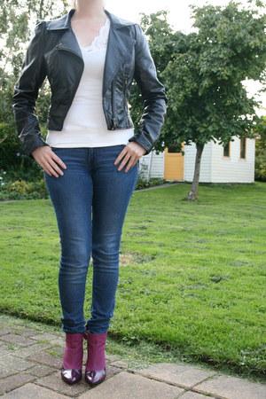 white lace top H & M top - purple purple boots H & M boots - blue H & M jeans
