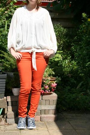 ivory white blouse H & M blouse - carrot orange orange pants H & M pants