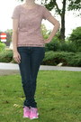 Blue-skinny-jeans-h-m-jeans-light-pink-lace-t-shirt-c-a-t-shirt