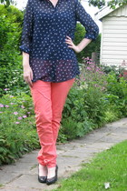 navy blue top Hema top - coral pink pants H & M pants