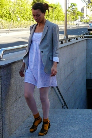 Zara blazer - Oysho dress - h&m via thrift town tights - BLANCO socks - H&M shoe