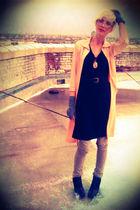 pink thrifted cardigan - black Target dress - black sam edelman boots - black th