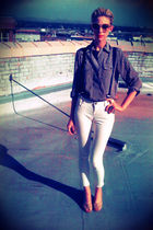 white Forever 21 jeans - black thrifted blouse - blue thrifted belt - beige Jeff