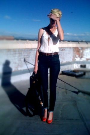 blue Urban jeans - brown thrifted belt - white Forever21 blouse - pink payless s