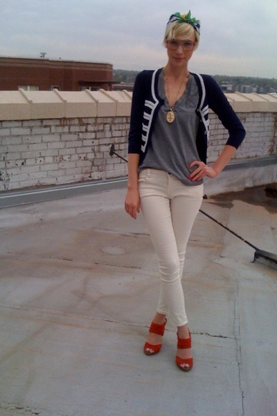 blue Forever21 cardigan - red high heeled seychelles shoes