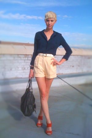 yellow thrifted shorts - blue thrifted blouse - white thrifted belt - red seyche