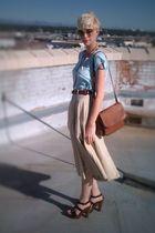 beige thrifted skirt - blue Forever 21 t-shirt - brown thrifted belt - black Nin