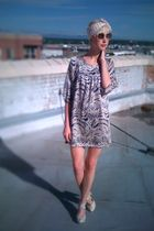 silver modcloth dress - orange thrifted scarf - beige seychelles shoes