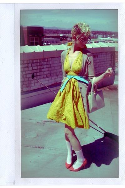 yellow Jean-Paul Gaultier for Target dress - blue belt - pink socks - pink Charl