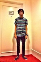 Topman Aztec shirt - Fourskin jeans - Topman bracelet - Vans E-street sneakers