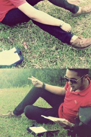 red Lacoste shirt - black Hugoboss pants - black Aramis bag - brown Nautica shoe