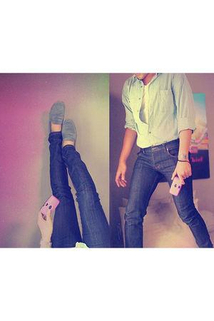 blue Topman shirt - blue Nudie Jeans jeans - purple kodak accessories - silver c
