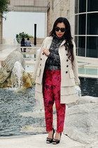 Jcrew pants - Anthropologie coat - Zara sweater - Miu Miu heels