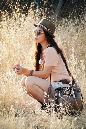 tan Urban Outfitters hat - tan botkier bag - cream H&amp;M shorts - peach JCrew t-sh