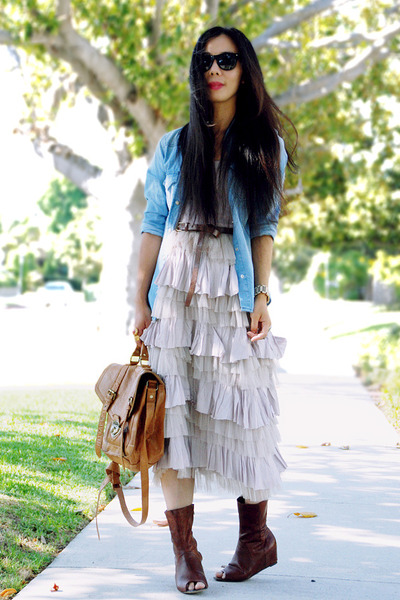 sky blue Zara shirt - tawny dolcevita boots - light pink freepeople dress