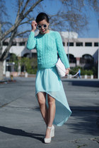 light blue Zara skirt - light blue asos sweater