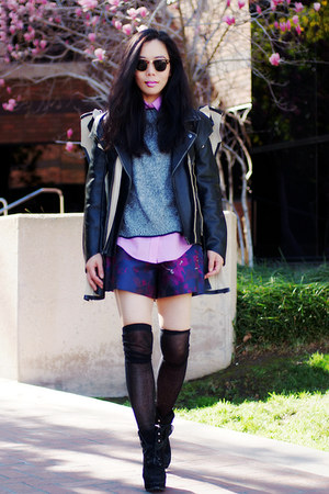 MMM with H&amp;M jacket - Dolce Vita boots - asos shorts - Topshop sweatshirt