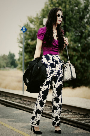 thrift pants - Louis Vuitton bag - Zara heels