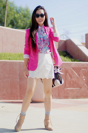 white Forever21 skirt - nude acne boots - hot pink Zara blazer