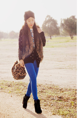Dolce Vita boots - leopard print Reflection bag - blue jeggings a&f pants - Fore