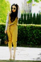 nude Charles David heels - H&M sweater - leopard print asos bag