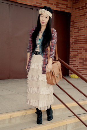 Jeffrey Campbell boots - a&amp;f shirt - asos bag - ruffles free people skirt - deni